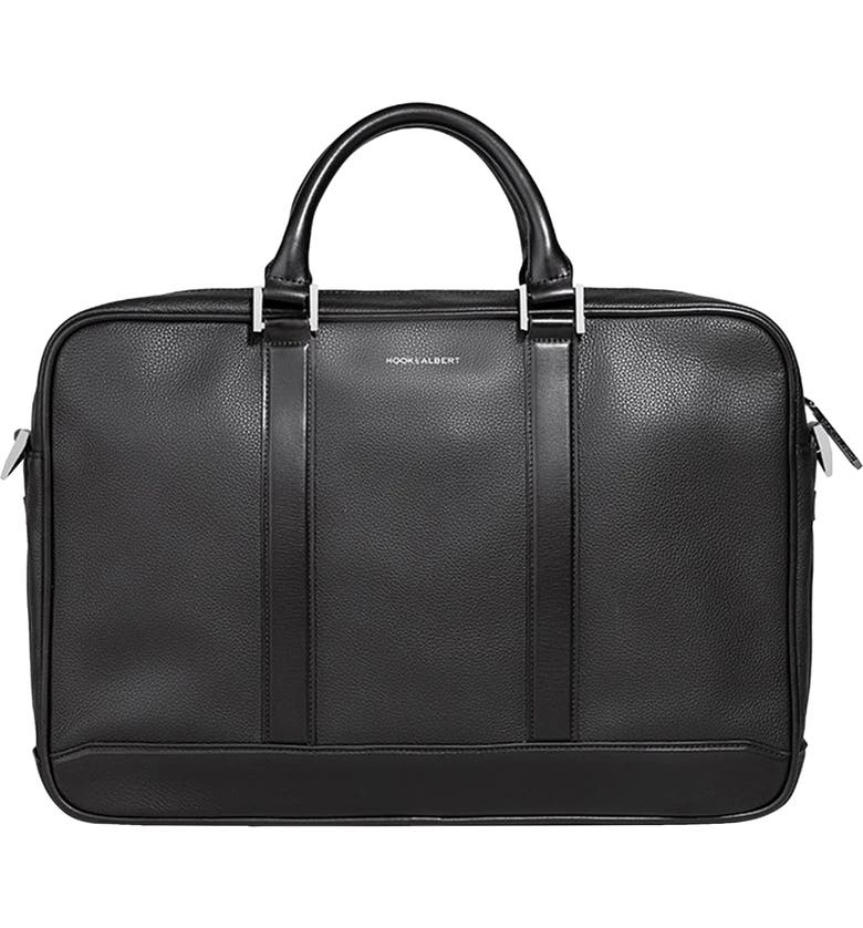 HOOK + ALBERT Leather Briefcase, Main, color, Black