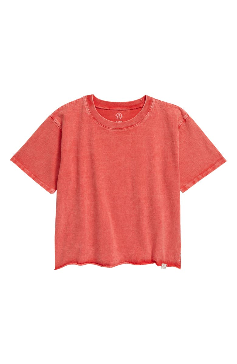 TREASURE & BOND Washed Crop T-Shirt, Main, color, RED POPPY WASH