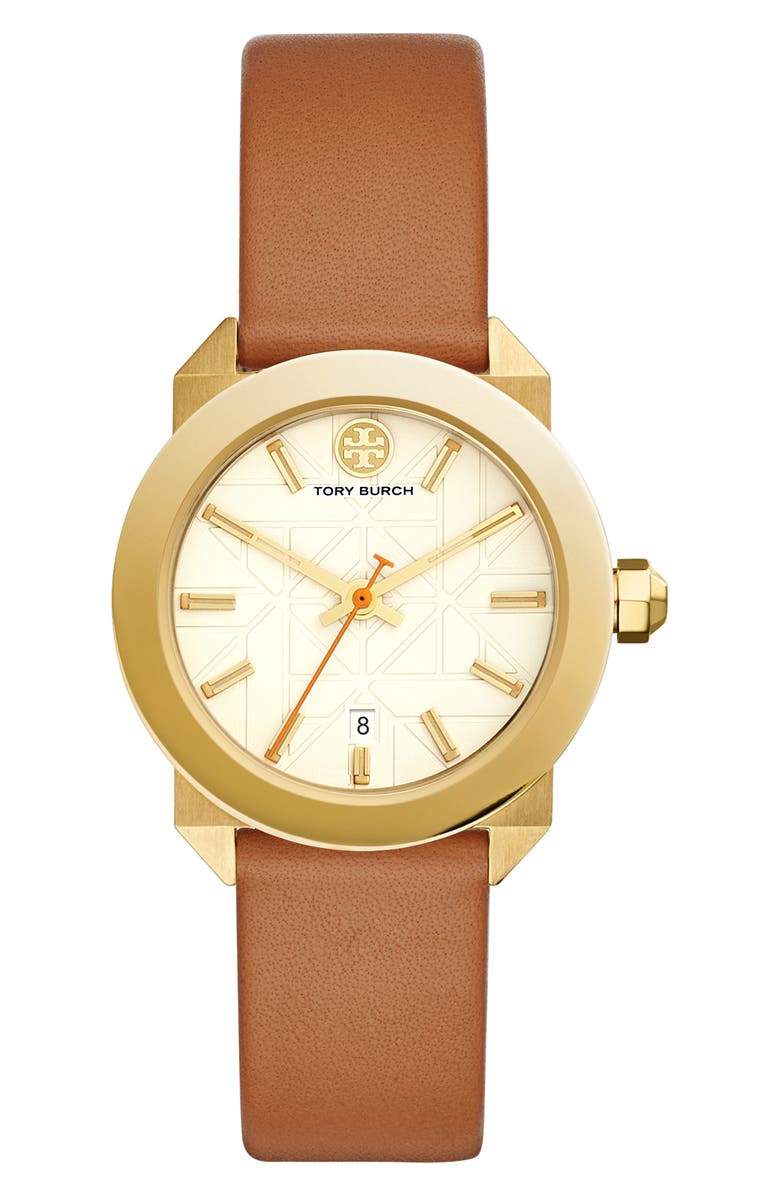 TORY BURCH Whitney Leather Strap Watch, 35mm, Main, color, 200