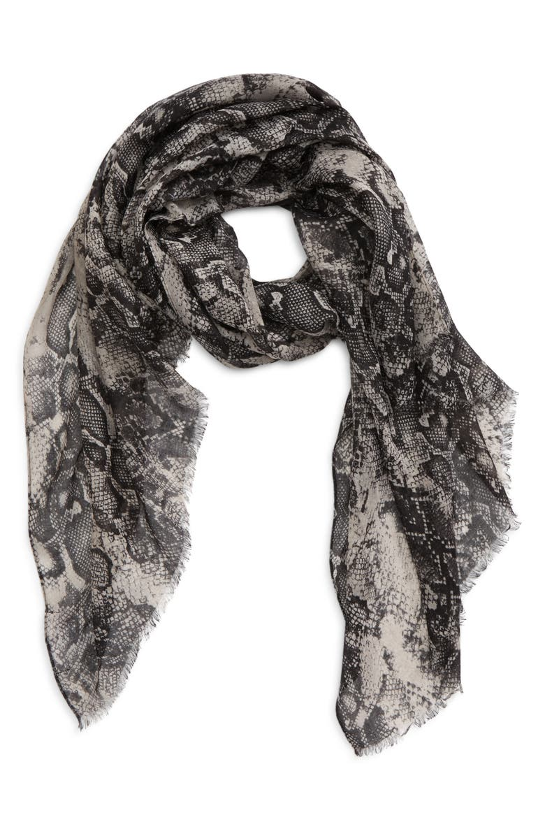 SOLE SOCIETY Snake Print Twill Scarf, Main, color, Grey