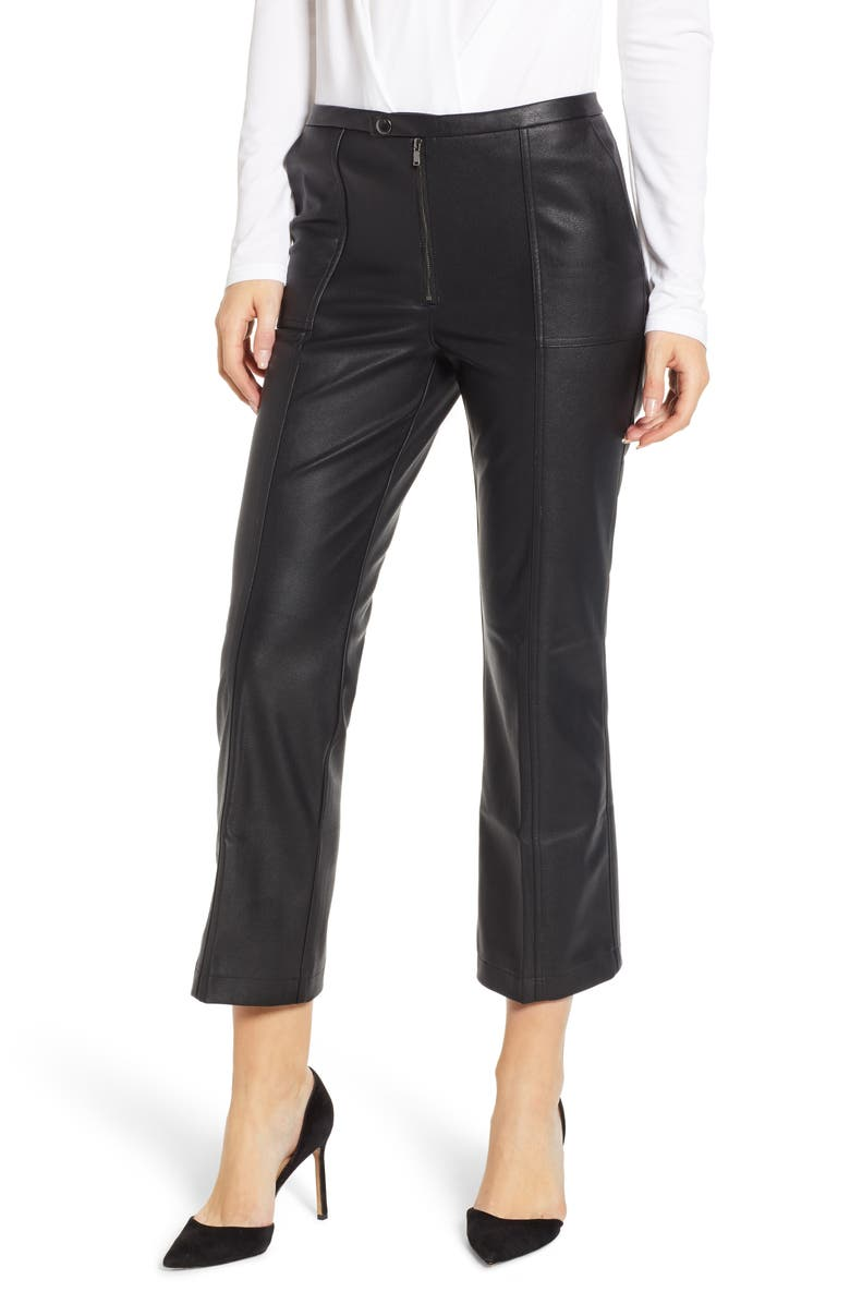 DAVID LERNER Pintuck Flare Faux Leather Trousers, Main, color, Black