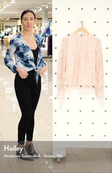 Bishop Sleeve Scalloped Lace Top, sales video thumbnail
