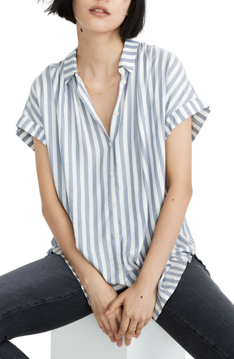 MADEWELL Bayside Stripe Central Drapey Shirt, Main, color, 400