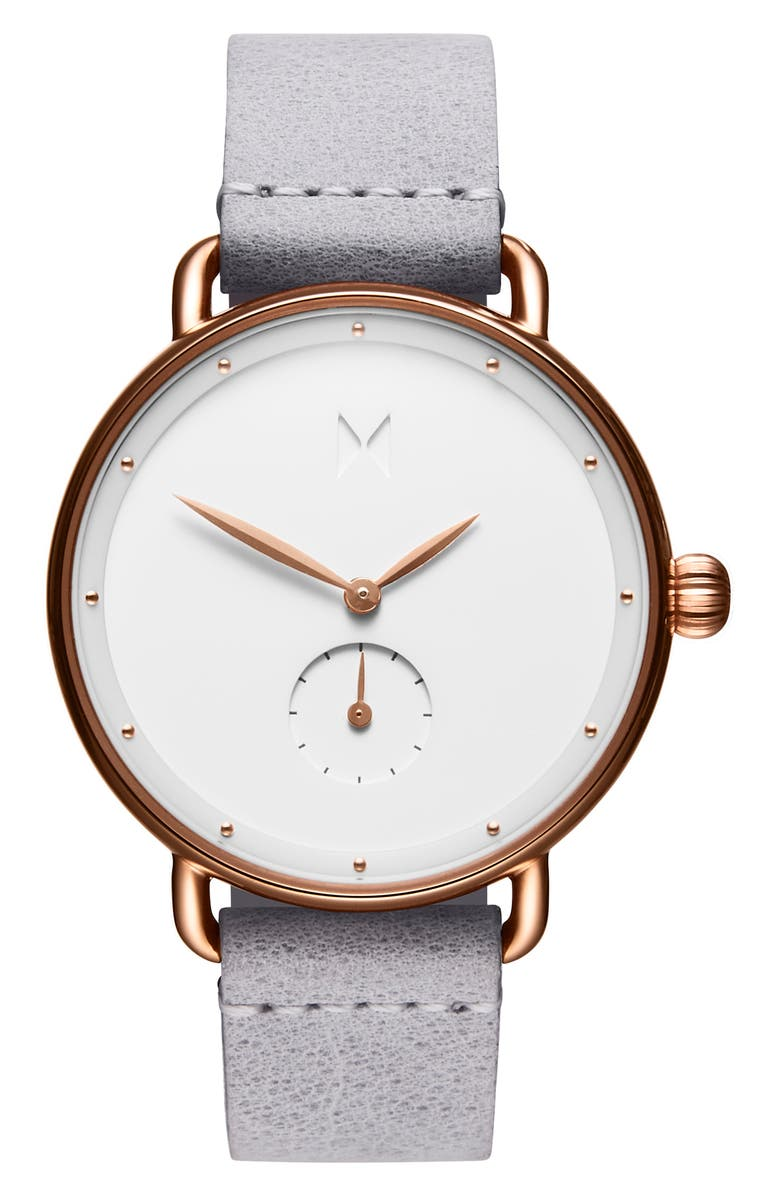 MVMT Bloom Leather Strap Watch, 36mm, Main, color, 020
