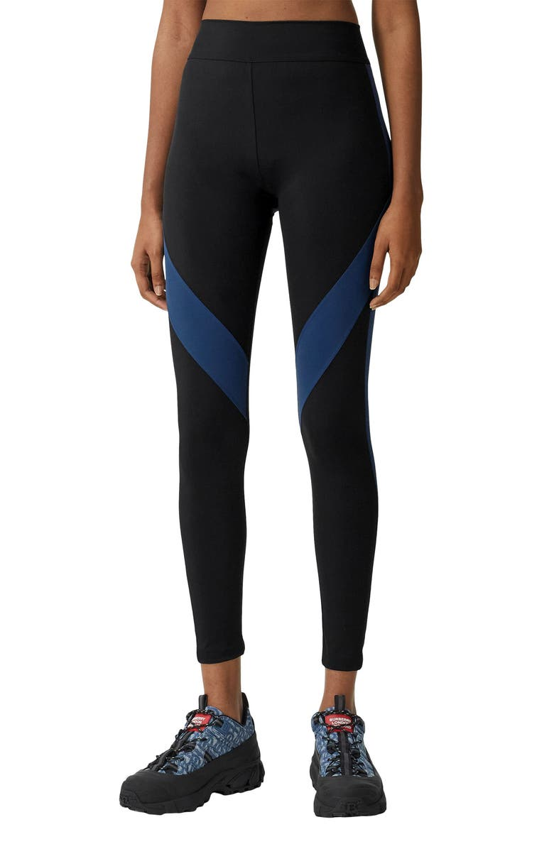 BURBERRY Madden Colorblock Stretch Jersey Leggings, Main, color, Black