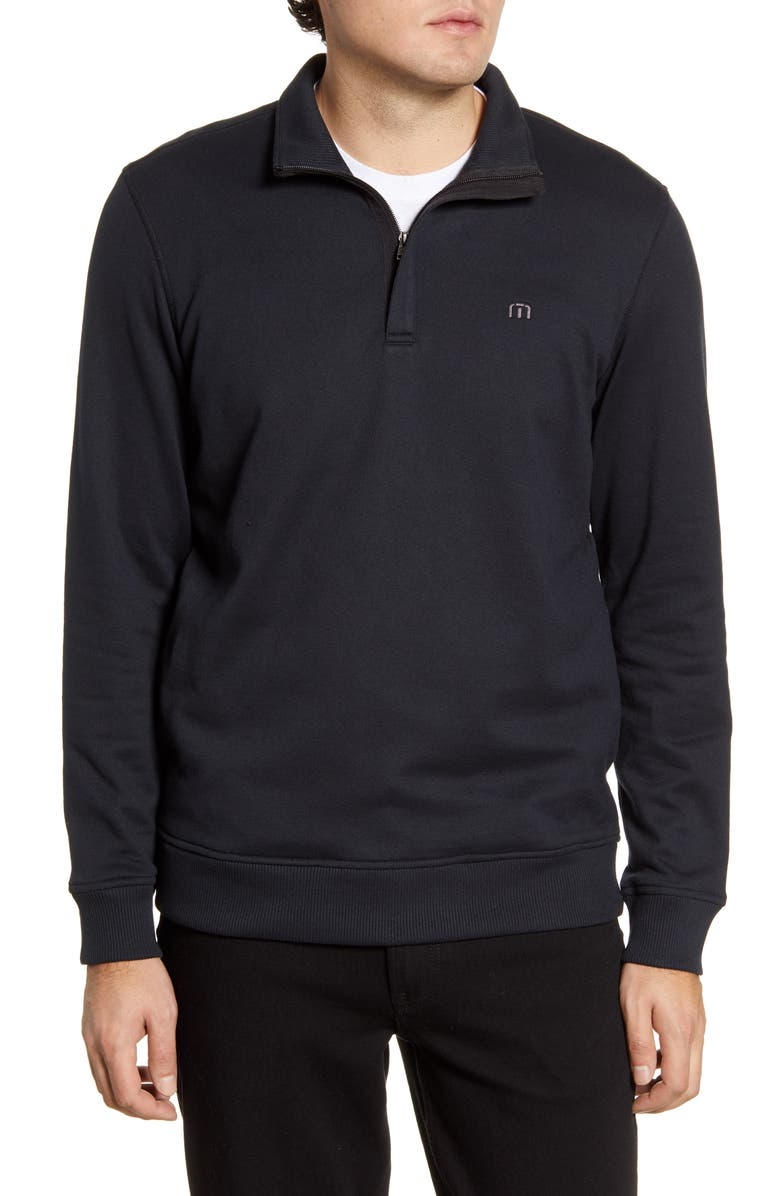 TRAVISMATHEW Hideaway Quarter Zip Pullover, Main, color, 001