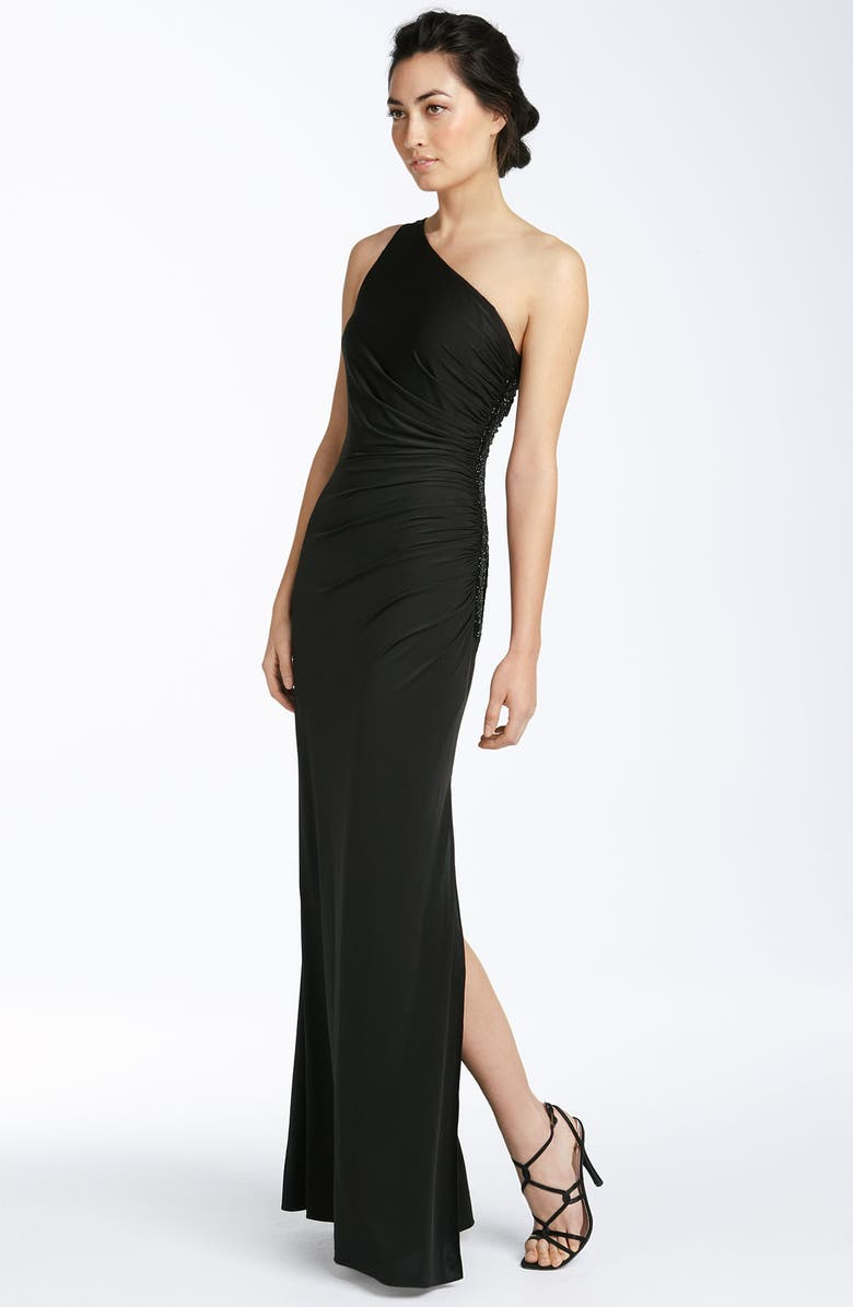 ADRIANNA PAPELL One Shoulder Jersey Gown, Main, color, 001