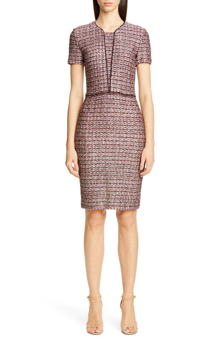 ST. JOHN COLLECTION Multitexture Inlay Knit Sheath Dress, Main, color, 650