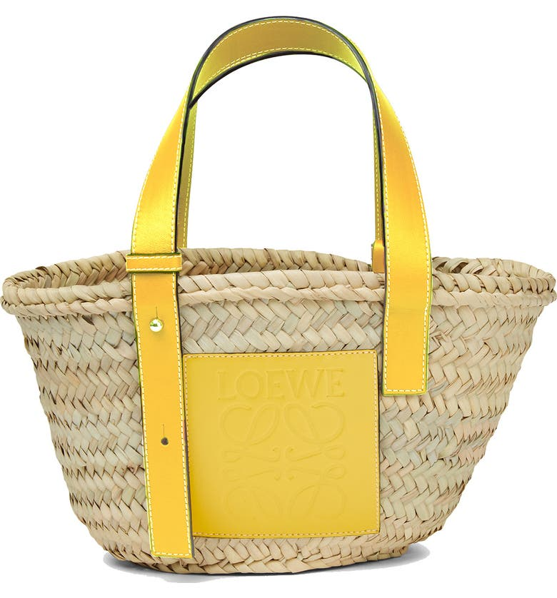 LOEWE Small Logo Straw Tote, Main, color, YELLOW