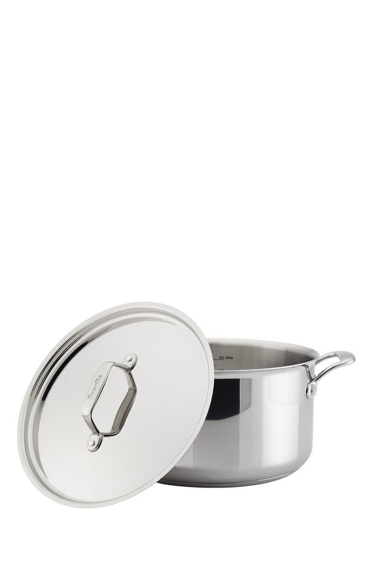 BREVILLE Thermo Pro Clad 8 Quart Covered Stockpot, Main, color, CLAD STAINLESS STEEL