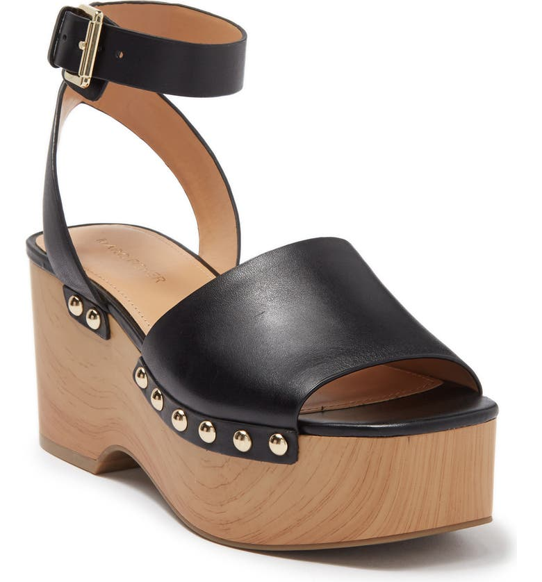 MARC FISHER Diona Faux Wood Platform Wedge, Main, color, BLKLE/001