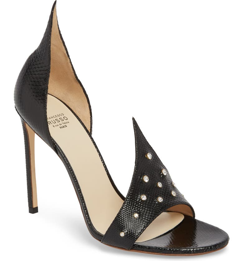 FRANCESCO RUSSO Flame Studded Sandal, Main, color, 001