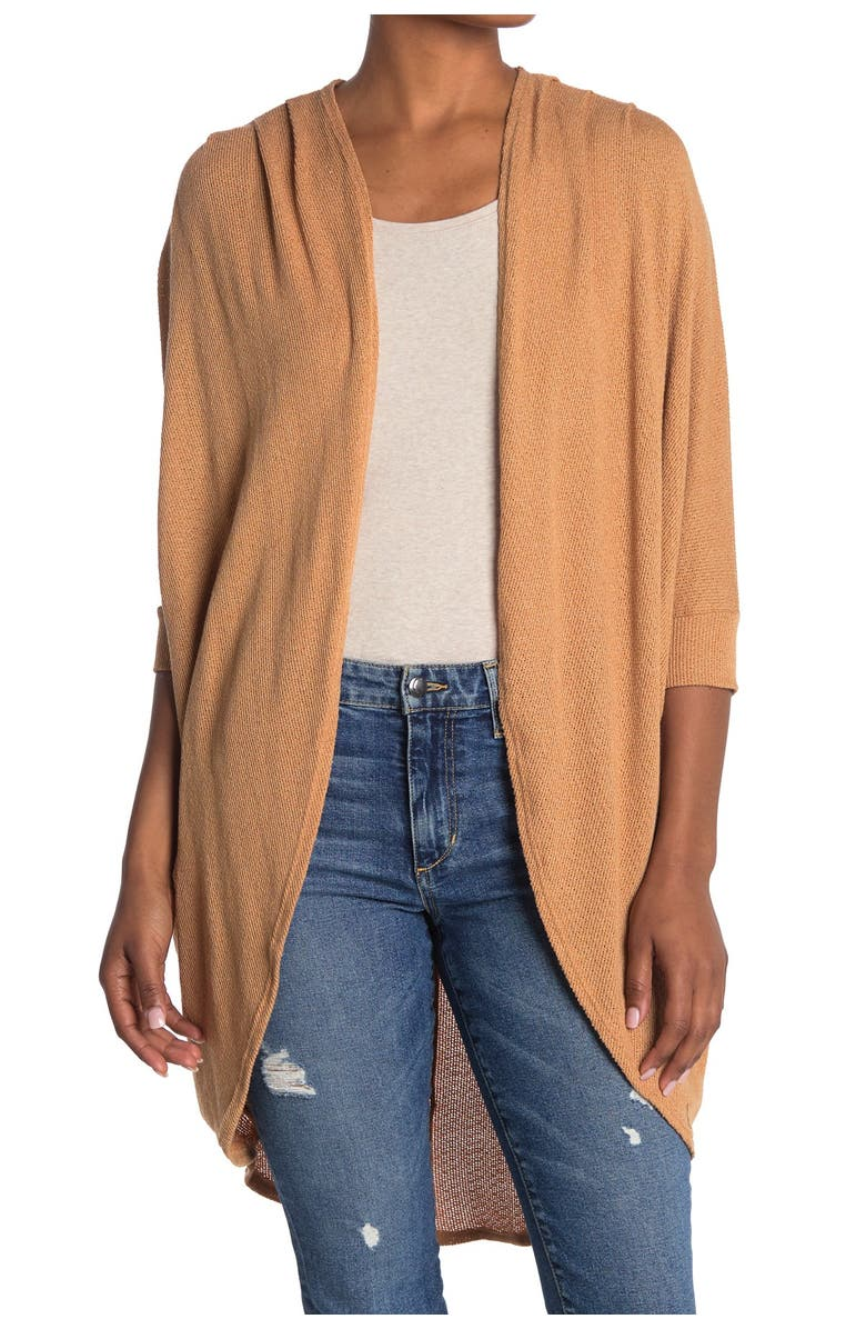 14TH AND UNION Lightweight Cocoon Cardigan, Main, color, TAN THRUSH