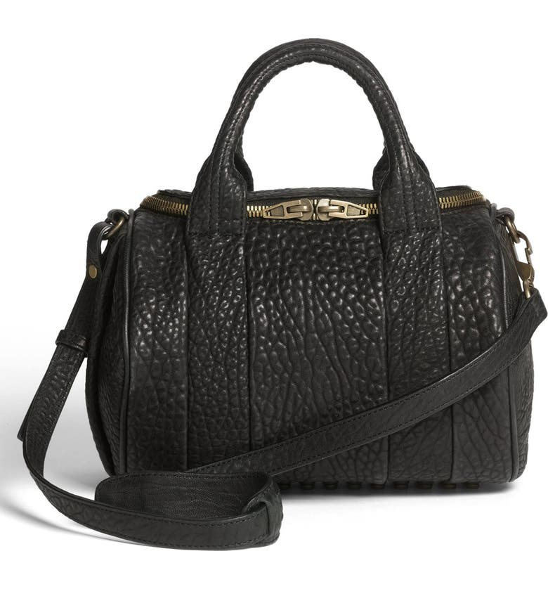 ALEXANDER WANG 'Rockie - Antique Brass' Leather Crossbody Satchel, Main, color, 001