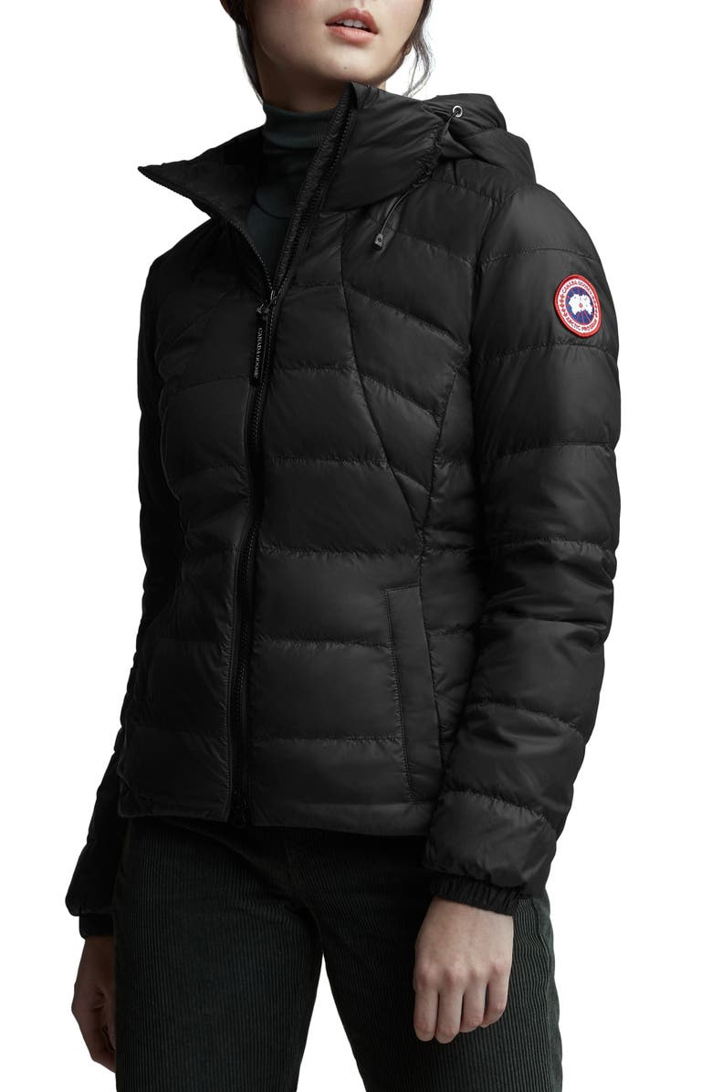 CANADA GOOSE Abbott Packable Hooded 750 Fill Power Down Jacket, Main, color, BLACK
