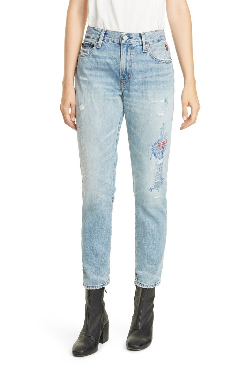 POLO RALPH LAUREN Avery Logo Polo Embroidery Detail Distressed Boyfriend Jeans, Main, color, 405