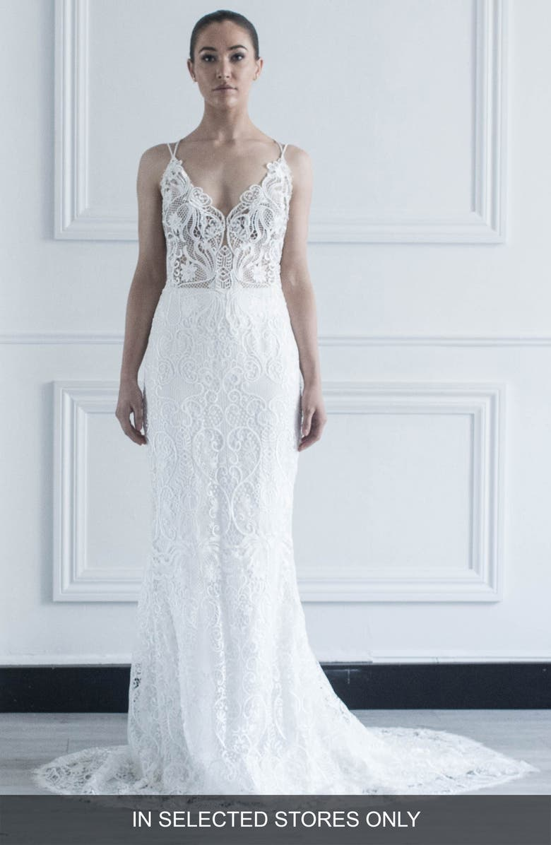 CHOSEN BY ONE DAY Jonie Guipure Lace Trumpet Wedding Dress, Main, color, 900