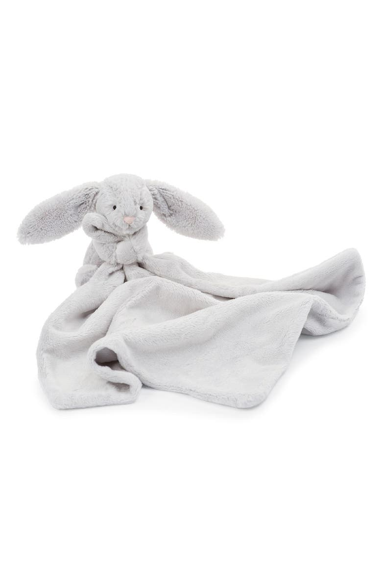 JELLYCAT Grey Bunny Soother Blanket, Main, color, 020
