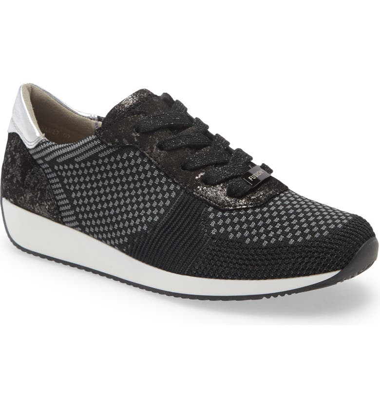 ARA Lilly Sneaker, Main, color, BLACK WOVEN FABRIC