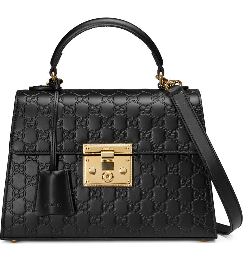 GUCCI Small Padlock Top Handle Signature Leather Bag, Main, color, 001