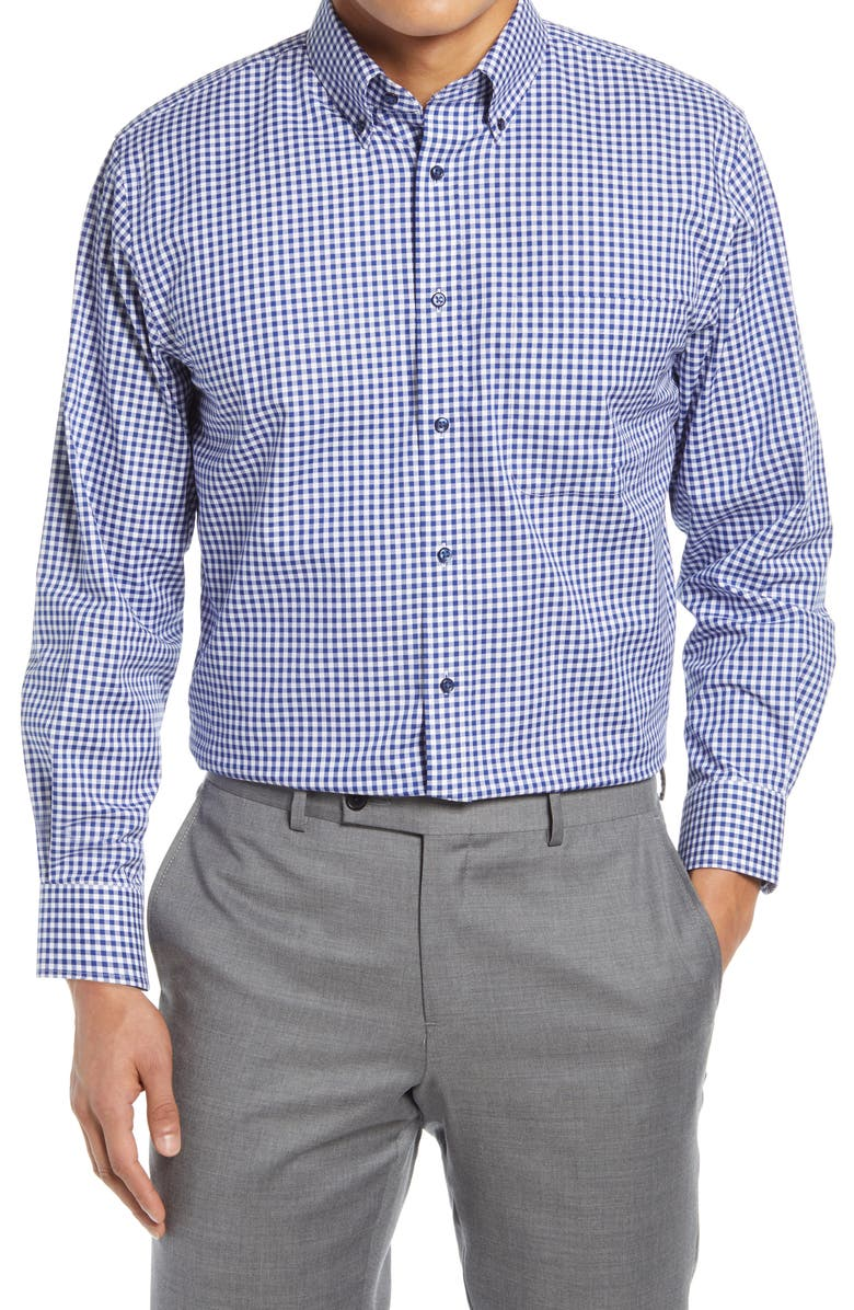 NORDSTROM Traditional Fit Non-Iron Gingham Dress Shirt, Main, color, 401