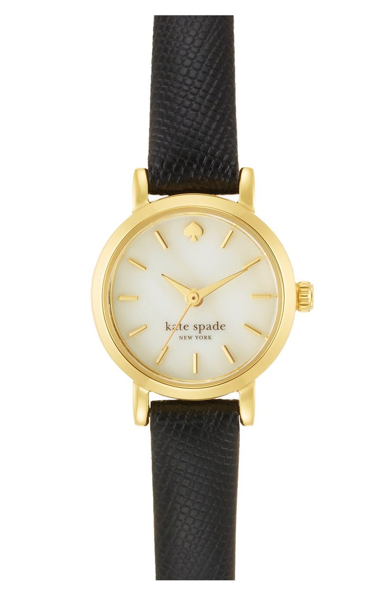 KATE SPADE NEW YORK 'tiny metro' leather strap watch, 20mm, Main, color, 001