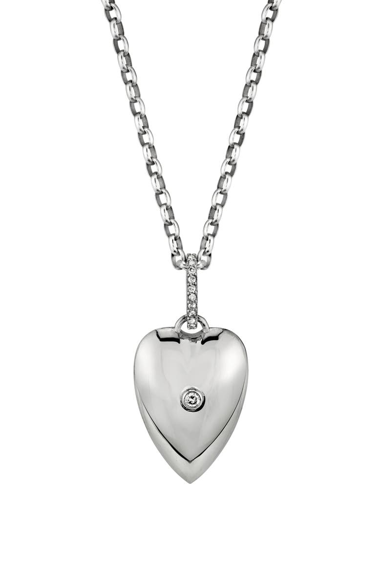 SHERYL LOWE Bezel Diamond Heart Pendant Necklace, Main, color, SILVER/ DIAMOND