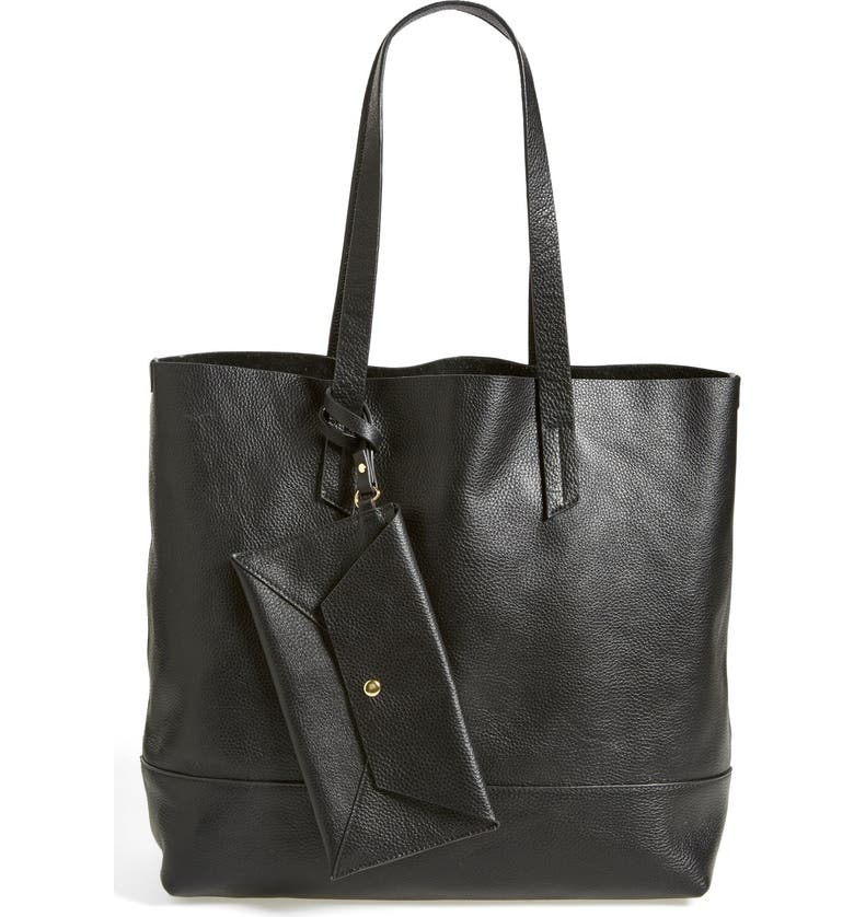 POVERTY FLATS BY RIAN Leather Tote, Main, color, 001