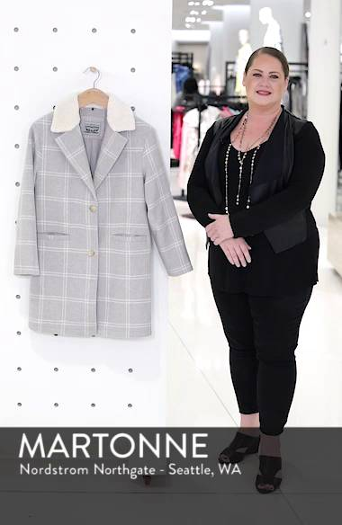 Wool Top Coat with Faux Shearling Collar, sales video thumbnail