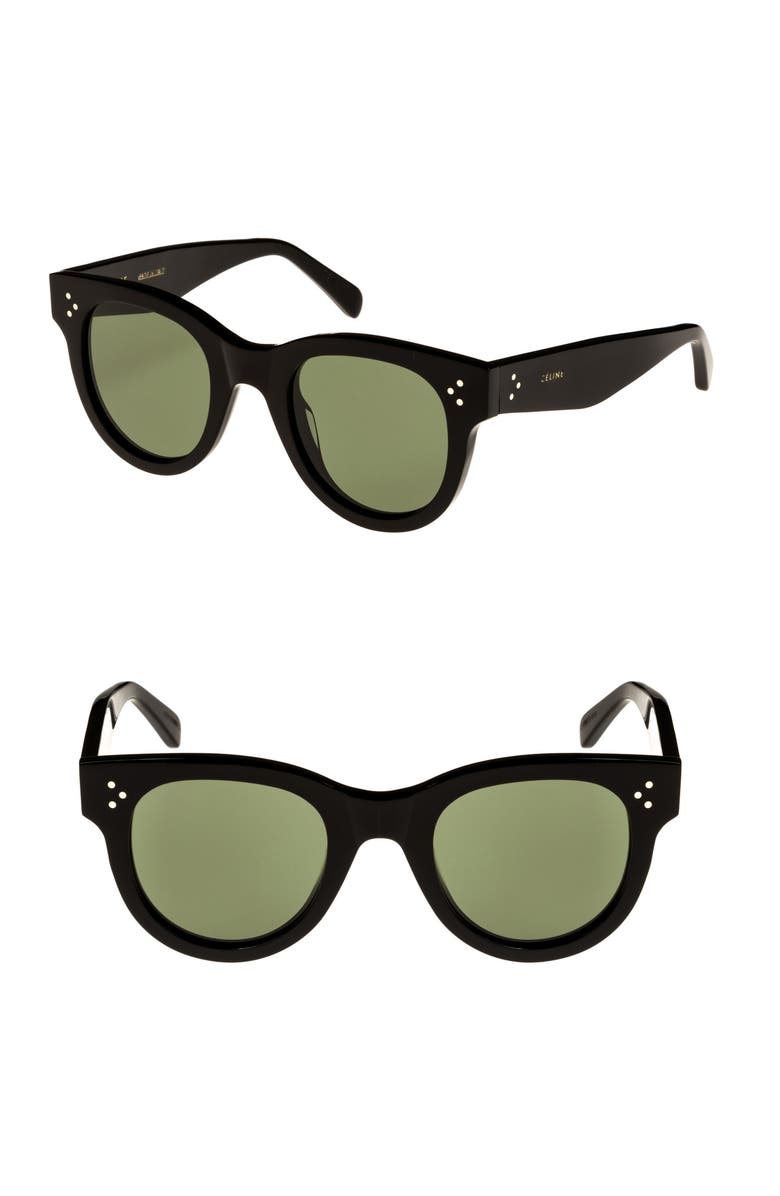 CELINE Mineral 48mm Cat Eye Sunglasses, Main, color, BLACK/ SMOKE BARBERINI