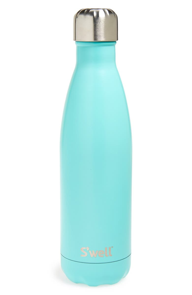 S'WELL 'Turquoise Blue' Stainless Steel Water Bottle, Main, color, TURQUOISE