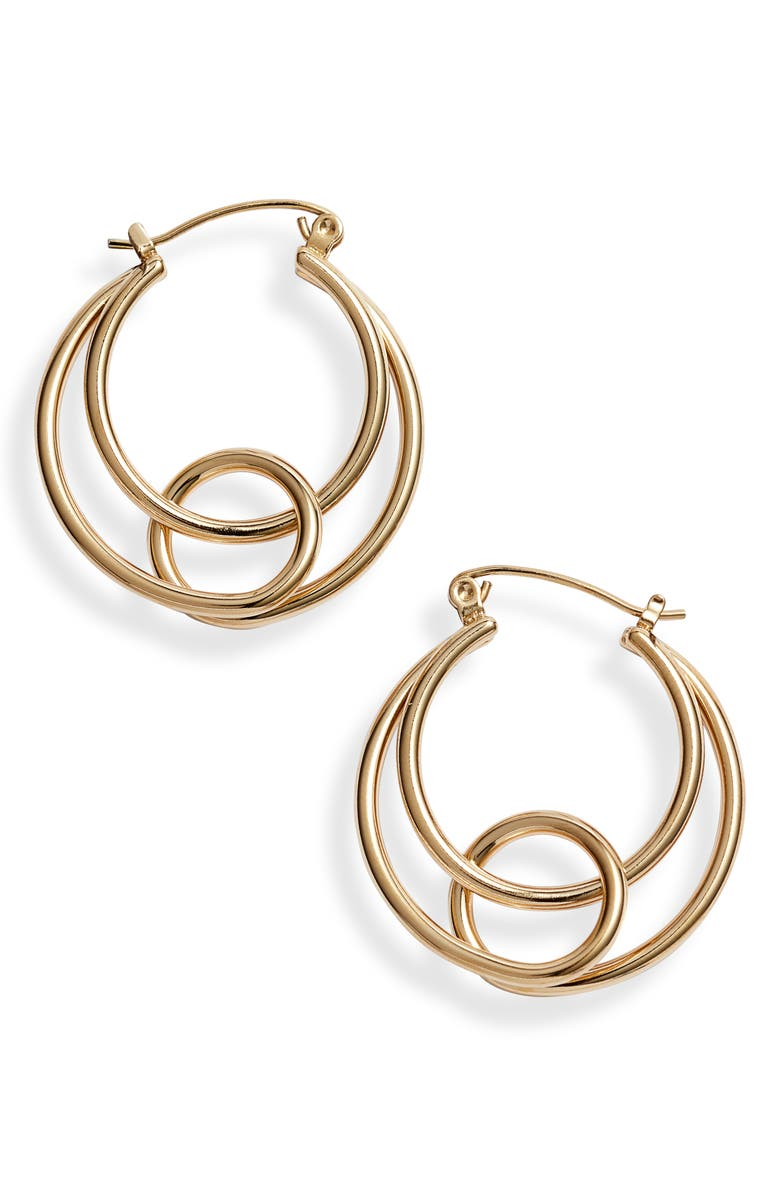 KNOTTY Twisted Hoops Earrings, Main, color, Gold