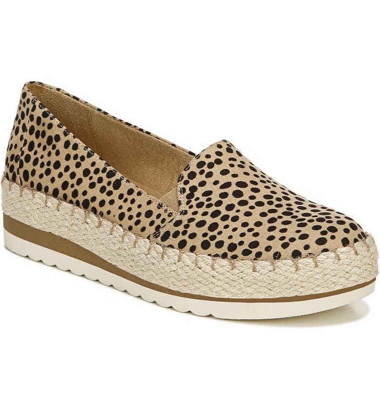 DR. SCHOLL'S Discovery Espadrille Loafer, Main, color, TAN / BLACK CHEETAH PRINT