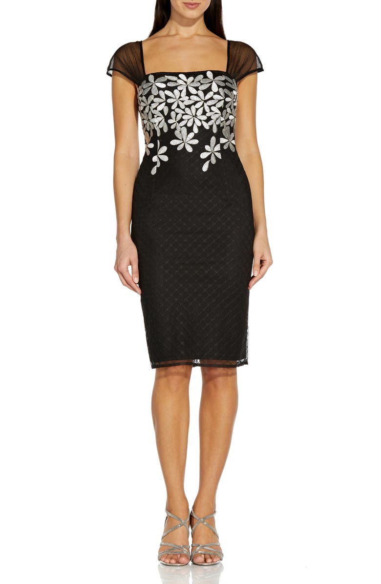 ADRIANNA PAPELL Metallic Floral Embroidered Cocktail Sheath Dress, Main, color, 019