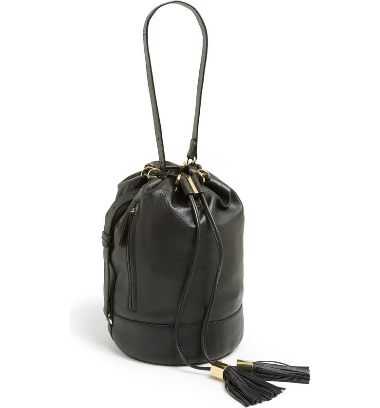 SEE BY CHLOÉ 'Vicki' Small Leather Bucket Bag, Main, color, Black