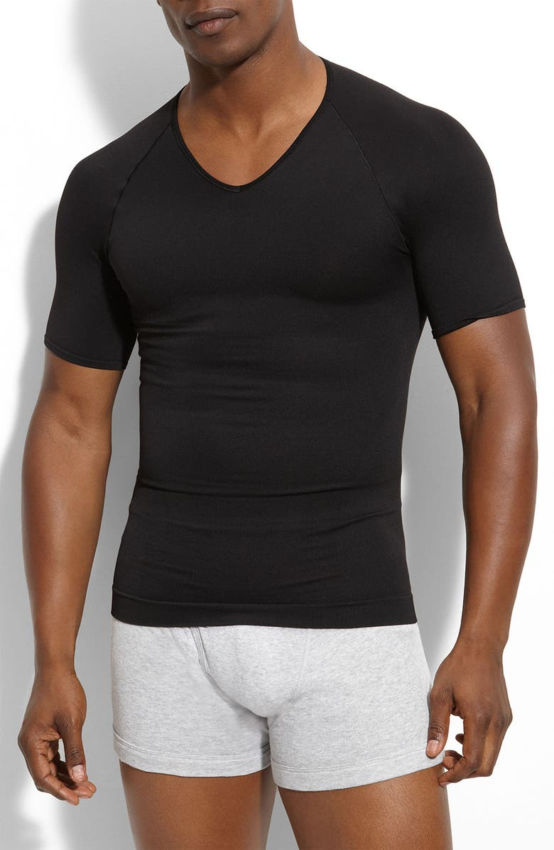 SPANX<SUP>®</SUP> Zoned Performance V-Neck T-Shirt, Main, color, 001