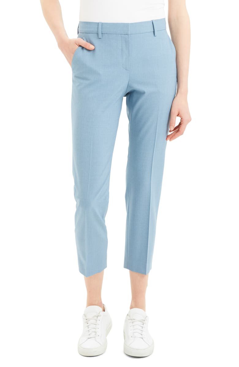 THEORY Treeca 2 Good Wool Crop Suit Pants, Main, color, CHAMBRAY MELANGE