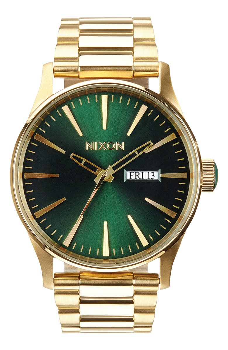NIXON 'The Sentry' Bracelet Watch, 42mm, Main, color, GOLD/ GREEN/ GOLD