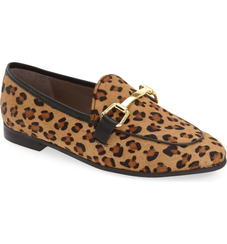 TOPSHOP 'Kendall' Genuine Calf Hair Loafer, Main, color, LEOPARD