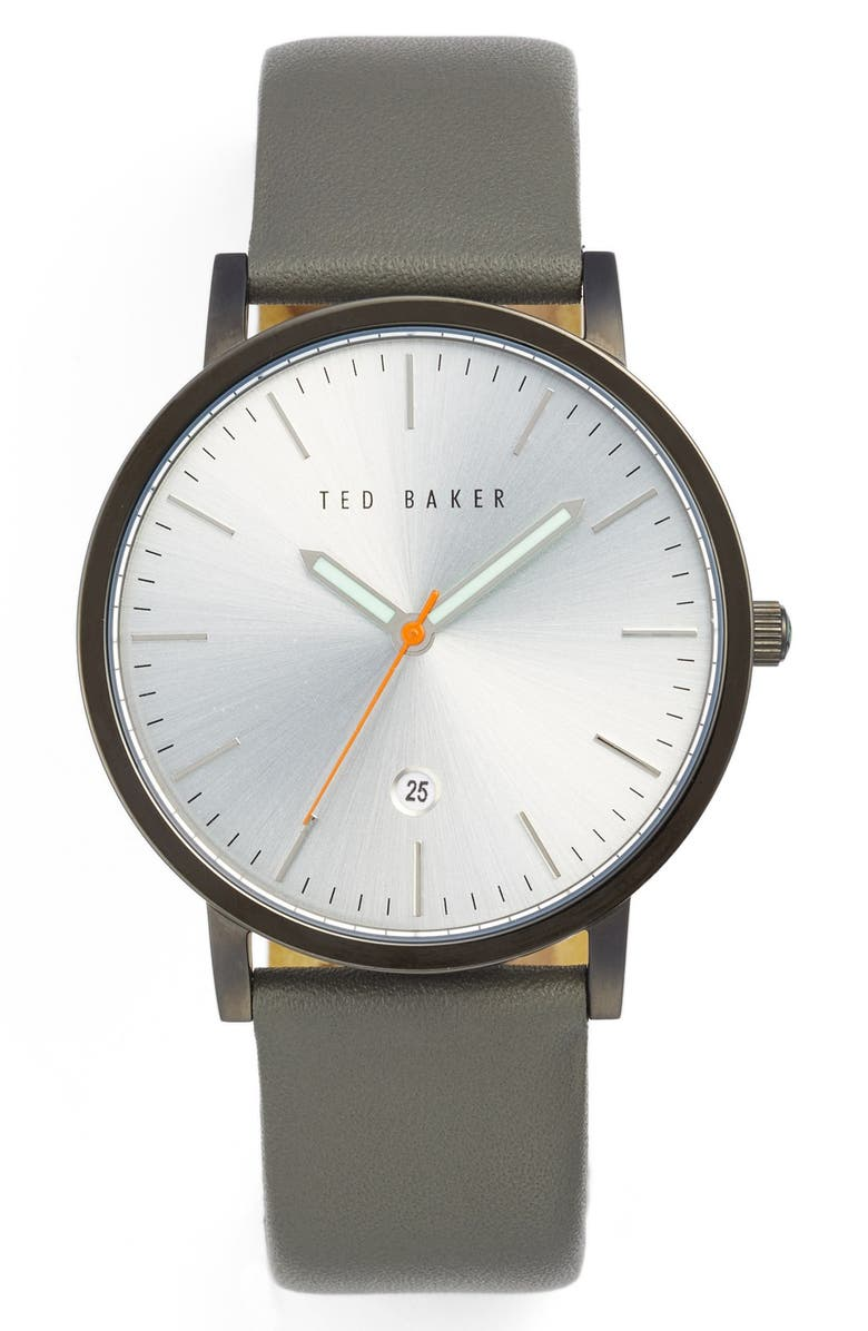 TED BAKER LONDON Leather Strap Watch, 40mm, Main, color, 020
