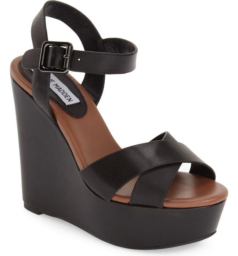 STEVE MADDEN 'Keviee' Wedge Sandal, Main, color, 001