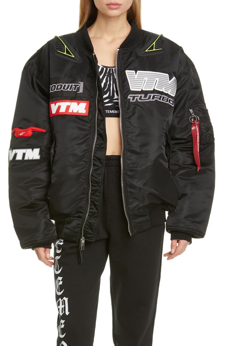VETEMENTS Motorcycle Bomber Jacket, Main, color, 001