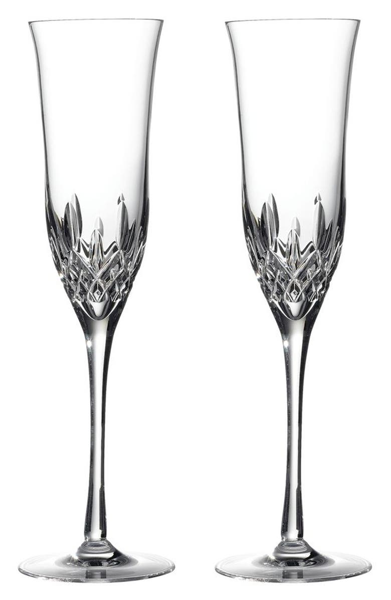 WATERFORD Lismore Essence Set of 2 Lead Crystal Champagne Flutes, Main, color, 100