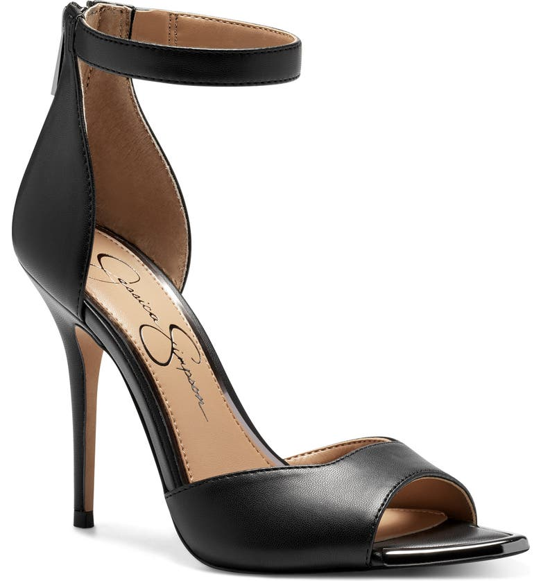 JESSICA SIMPSON Witrey Pointed Toe Sandal, Main, color, BLACK FAUX LEATHER