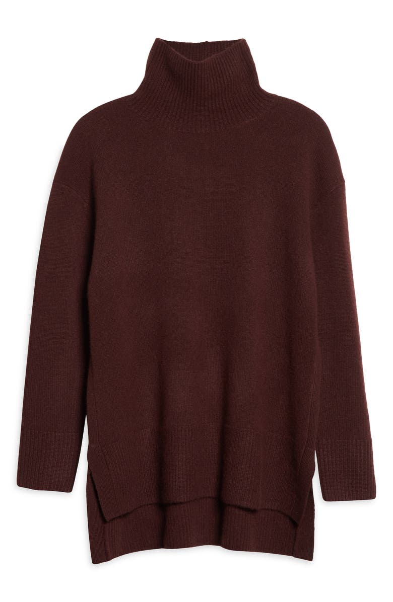 NORDSTROM SIGNATURE Nordstrom Funnel Neck Cashmere Sweater, Main, color, BROWN CHOCOLATE