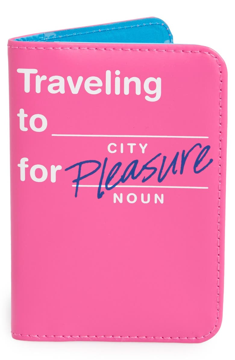 FLIGHT 001 'Traveling to _____ for Pleasure' Passport Cover, Main, color, Pink