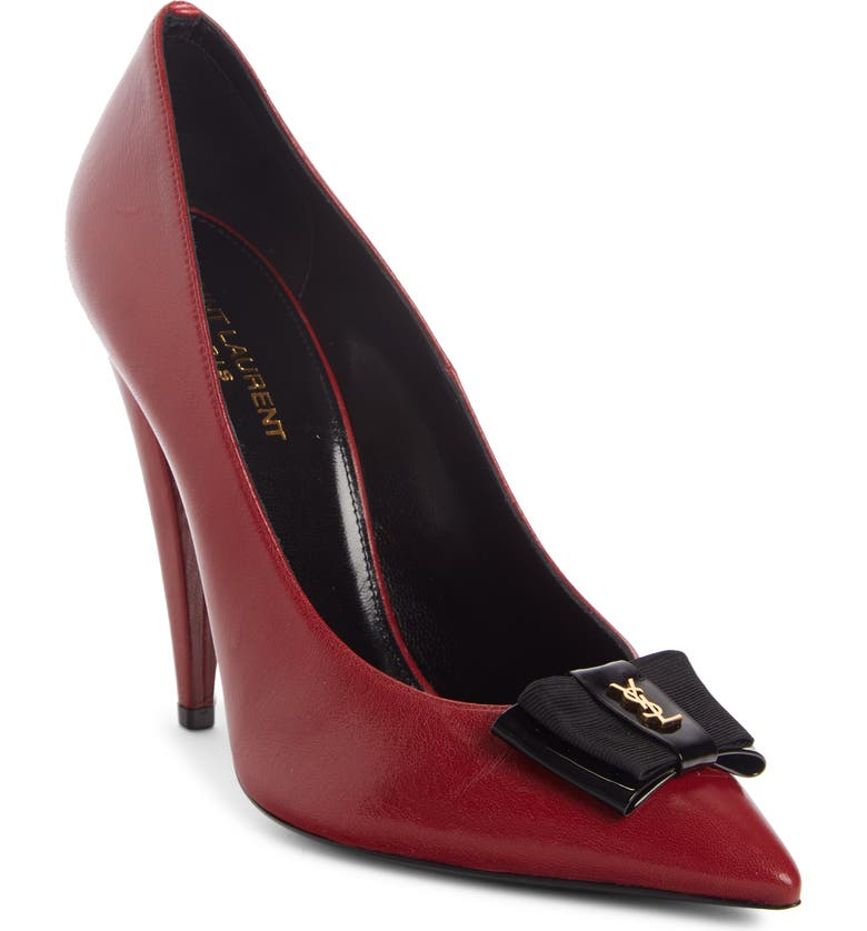 SAINT LAURENT Anais YSL Bow Pointed Toe Pump, Main, color, OPYUM RED/ NERO/ NERO