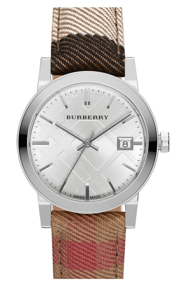 BURBERRY 'The City' Woven Strap Watch, 34mm, Main, color, 001