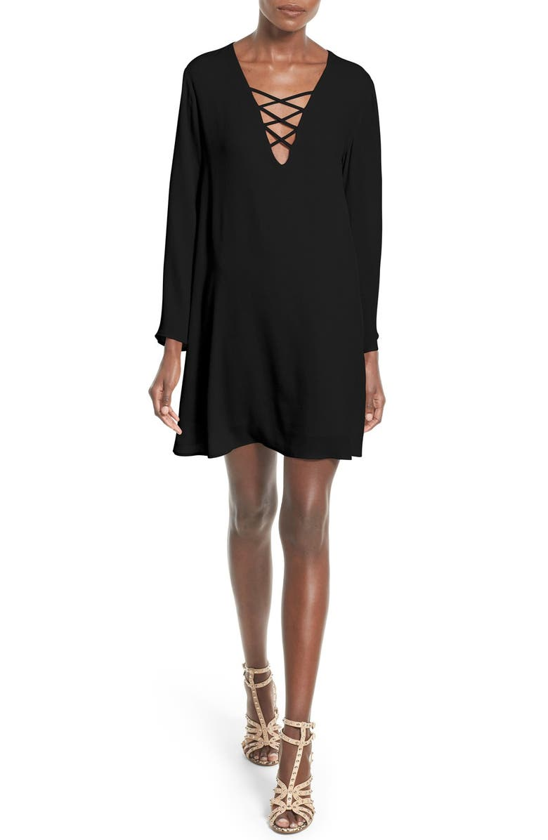 ASTR THE LABEL ASTR Lace-Up Bell Sleeve Shift Dress, Main, color, BLACK