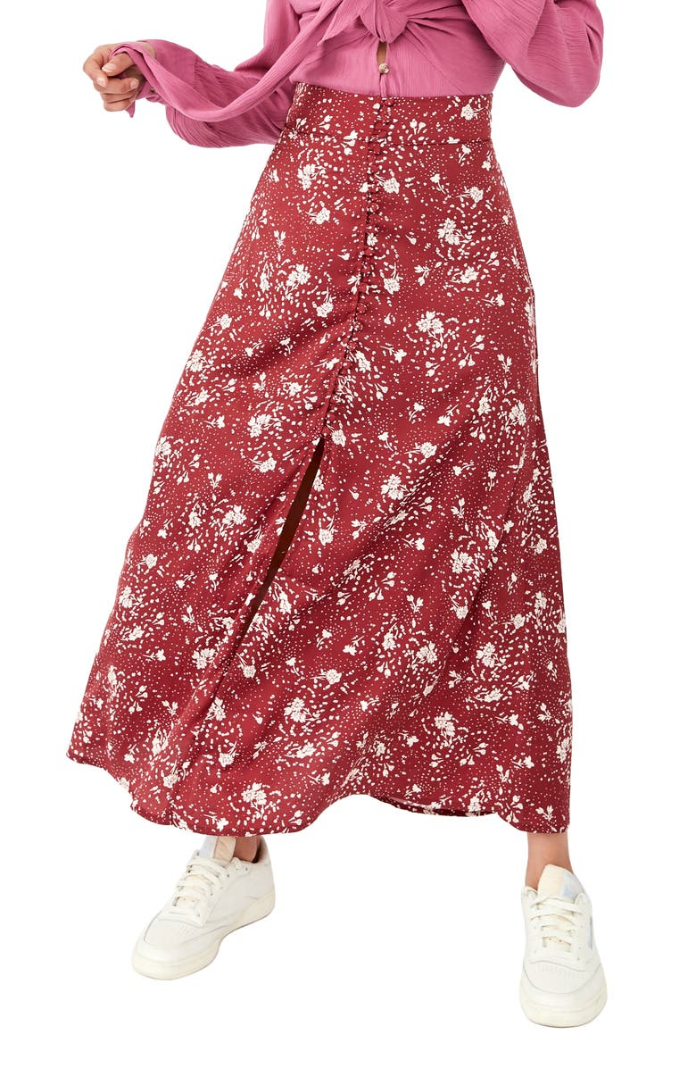 FREE PEOPLE Sammy Floral Button-Up Skirt, Main, color, SWEET CRANBERRY